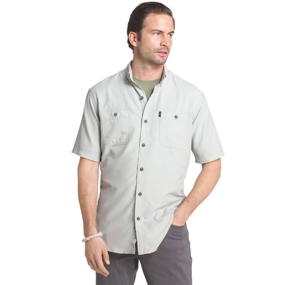 G.H. BASS & CO. Men's Solid Explorer Sportsman Short-Sleeve Shirt - STORM GRAY - 025