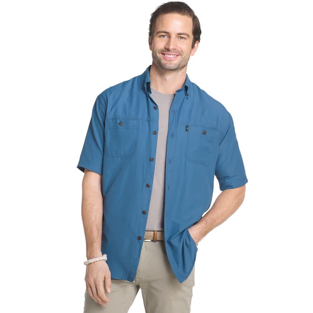 G.H. BASS & CO. Men's Solid Explorer Sportsman Short-Sleeve Shirt - INDIGO SKY - 450