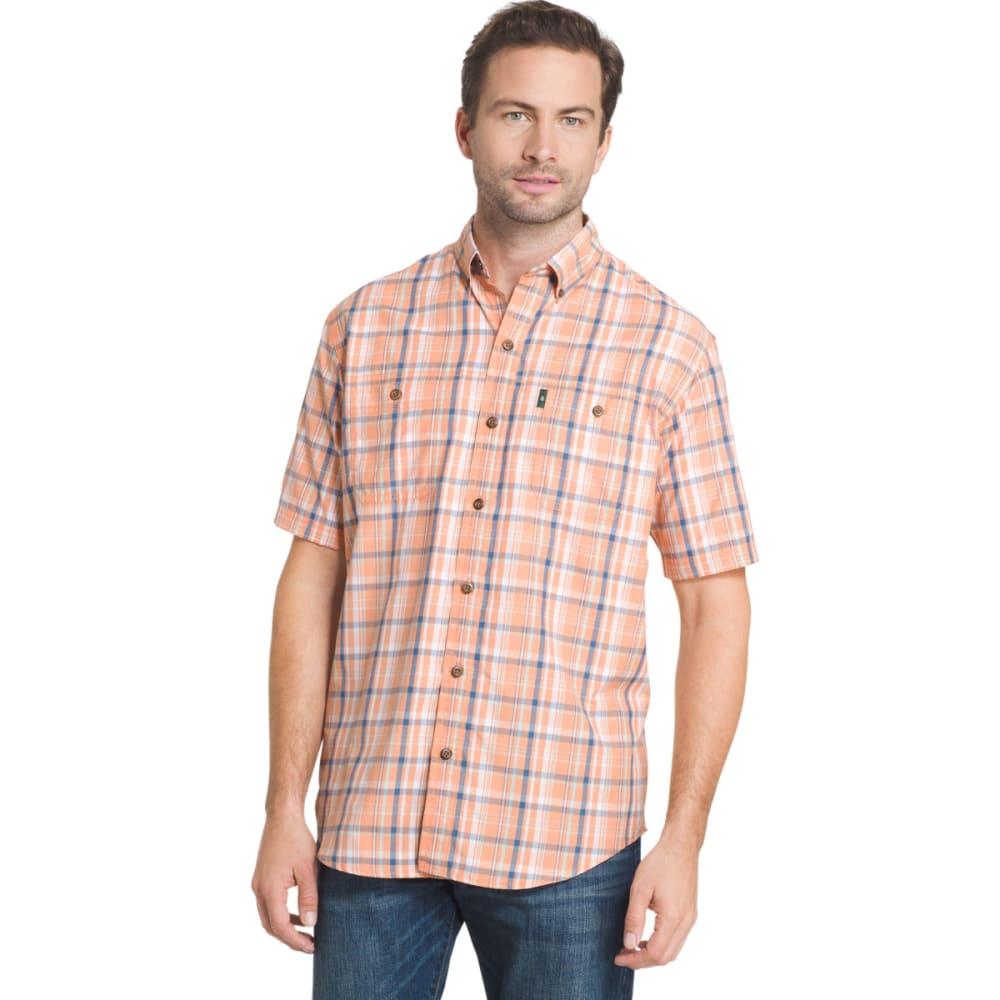 G.H. BASS & CO. Men's Medium Plaid Explorer Sportsman Short-Sleeve Shirt - SHELL CORAL - 806