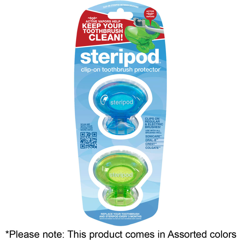 LMS Steripod Clip-On Toothbrush Protector, 2 Pack - ASSORTED