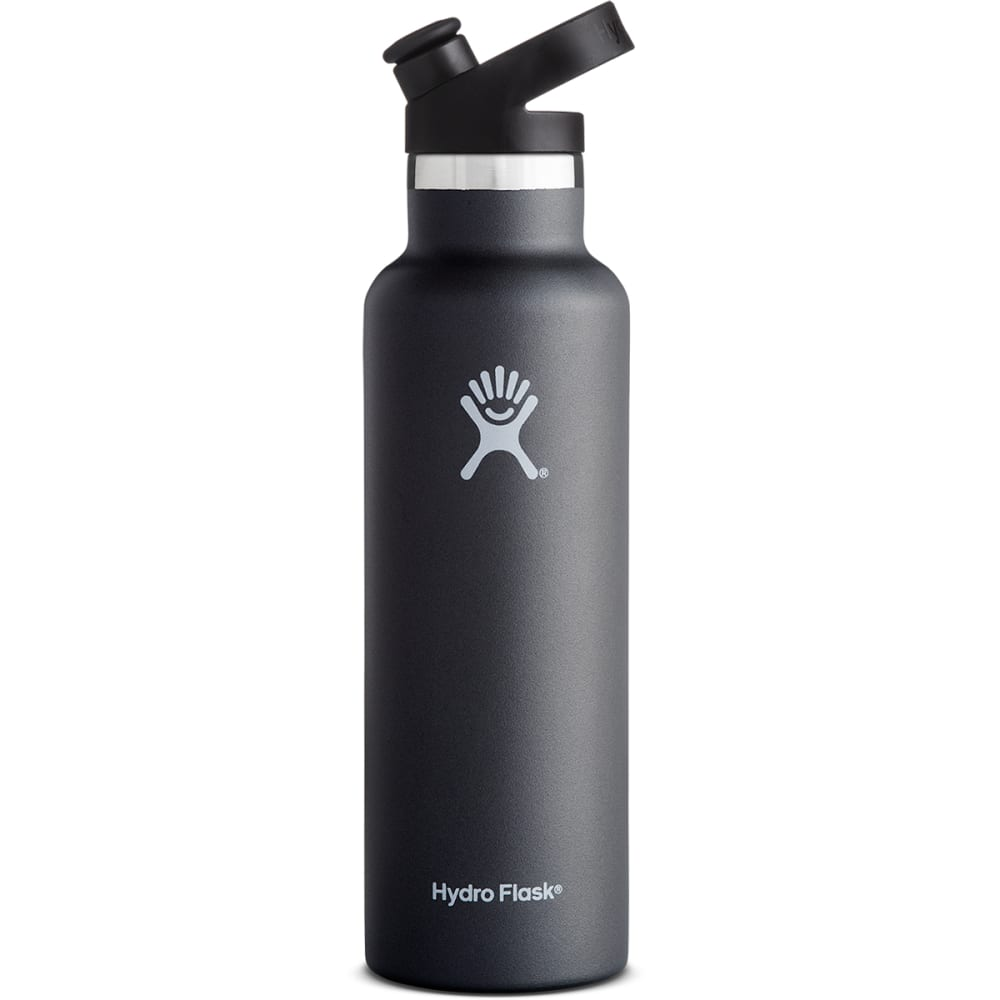 HYDRO FLASK 21 oz. Standard Mouth Water Bottle with Sport Cap - BLACK