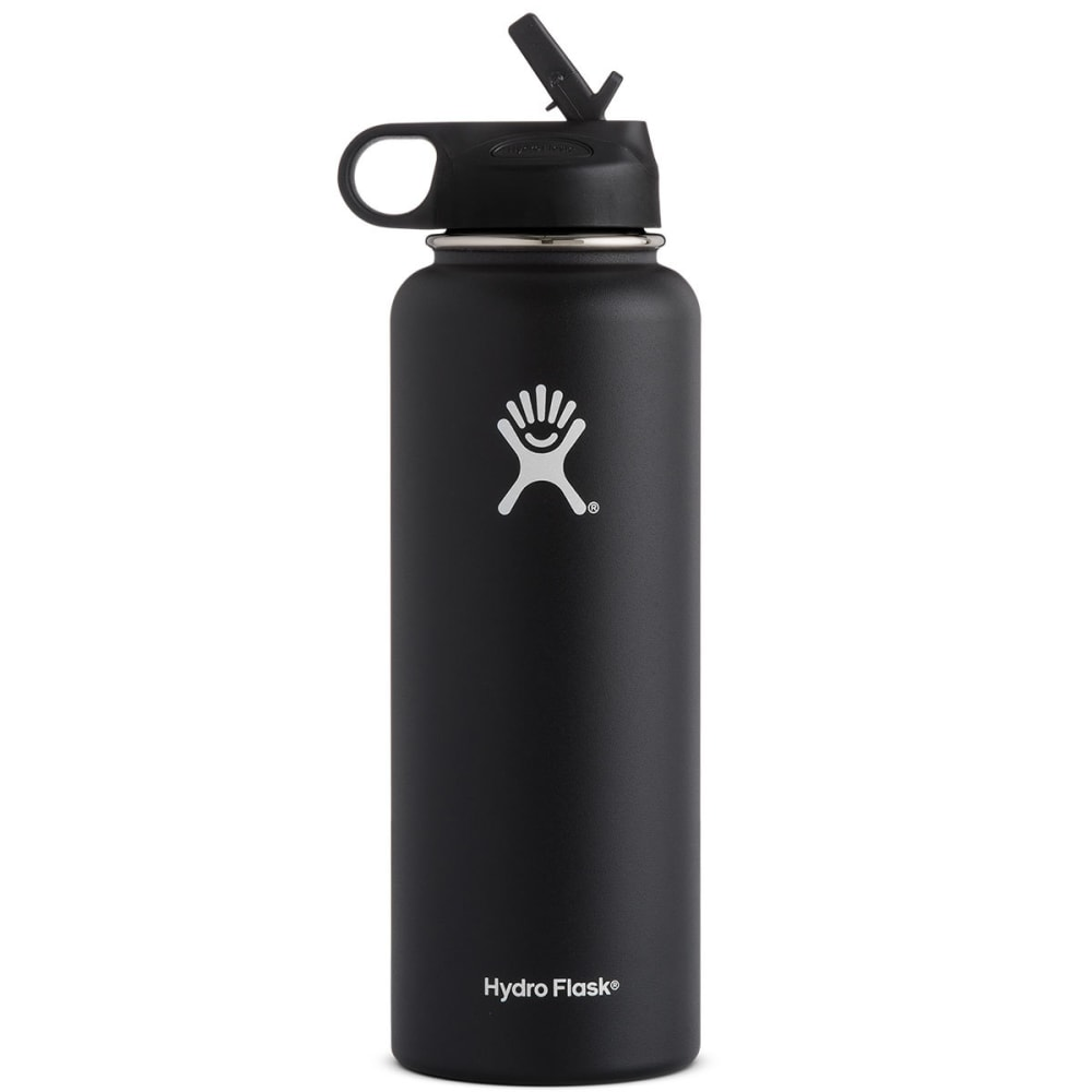 HYDRO FLASK 40 OZ Wide Mouth with Straw Lid, Black - BLACK