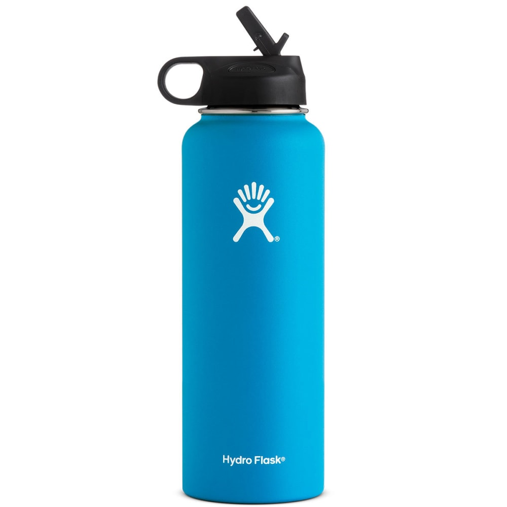 HYDRO FLASK 40 OZ Wide Mouth with Straw Lid, Pacific - PACIFIC BLUE