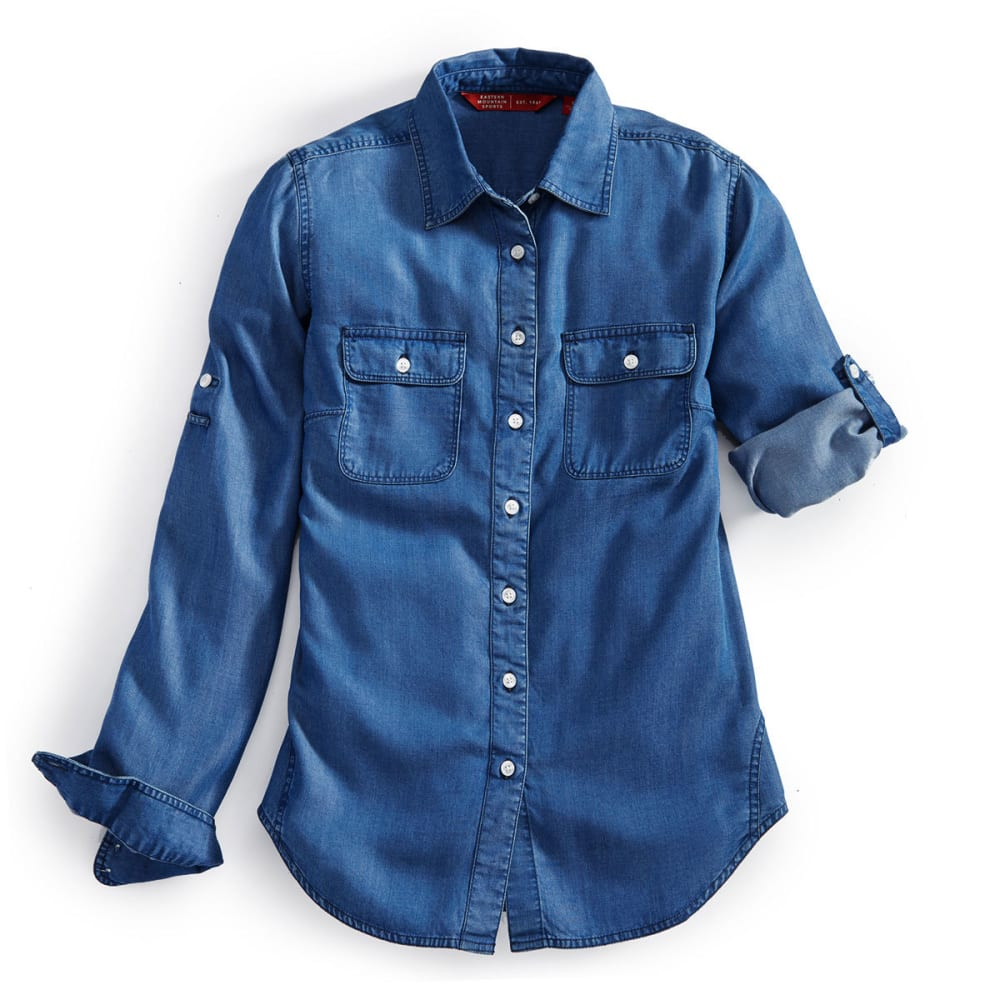 EMS Women's Chambray Solid Long-Sleeve Shirt - MID DENIM WASH