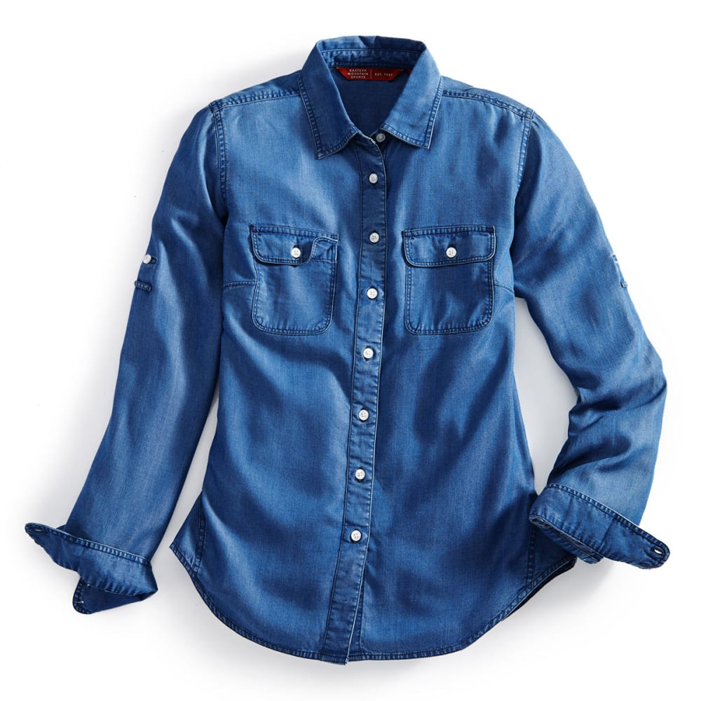EMS Women's Chambray Solid Long-Sleeve Shirt - Blue - Size S S17W0016