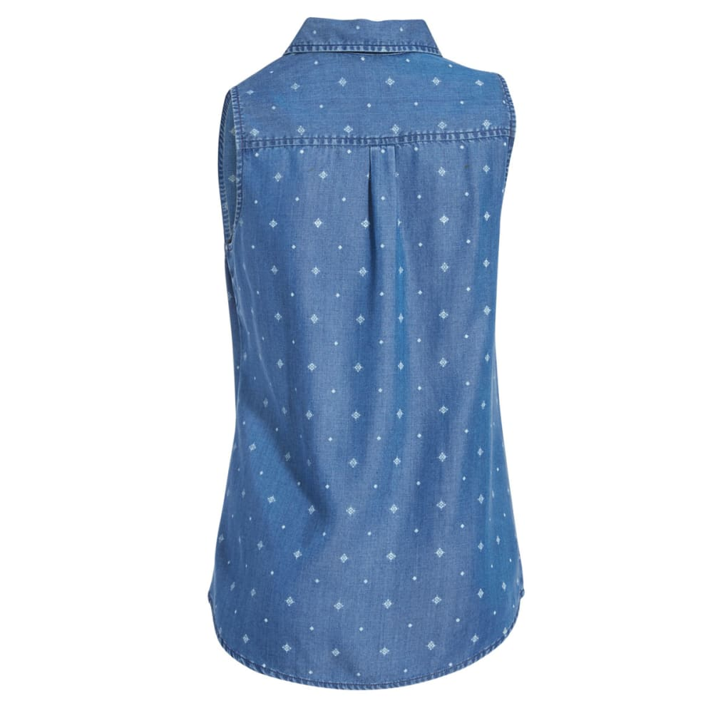 EMS Women's Printed Chambray Sleeveless Shirt - PRINT