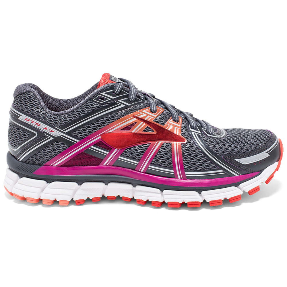 BROOKS Women's Adrenaline GTS 17 Running Shoes, Anthracite/Fuchsia - ANTHRACITE/FUCSHIA