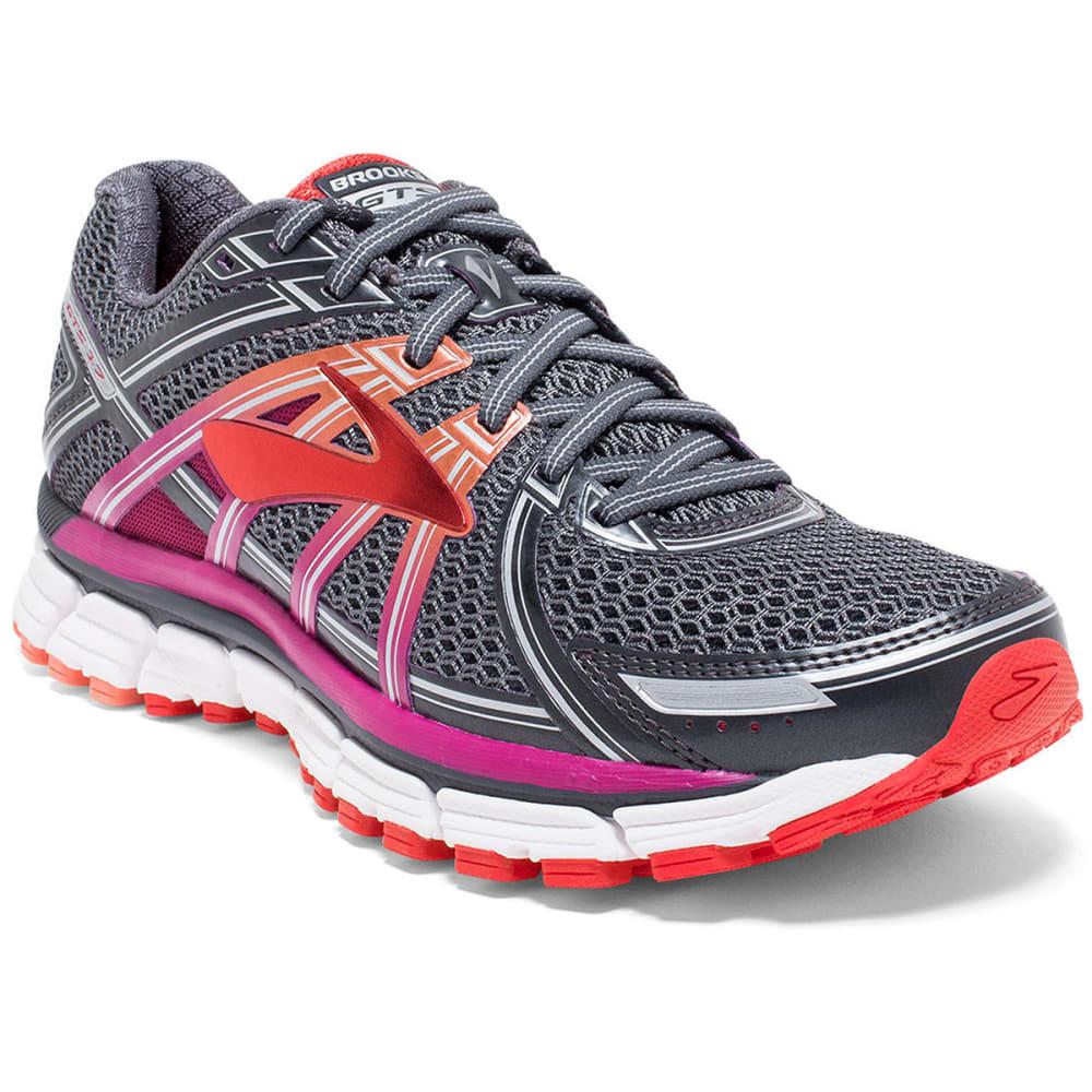 BROOKS Women's Adrenaline GTS 17 Running Shoes, Anthracite/Fuchsia - ANTHRACITE/FUCSHIA