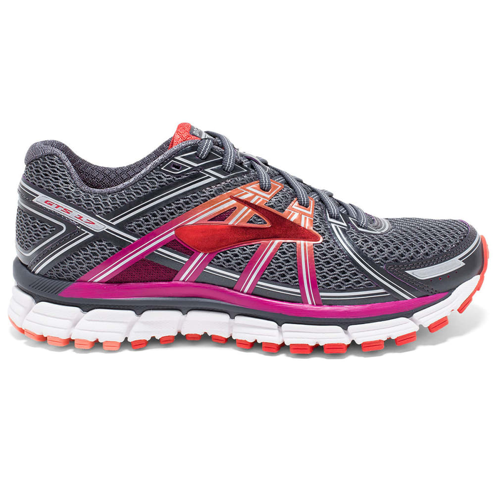 BROOKS Women's Adrenaline GTS 17 Running Shoes, Wide, Anthracite/Fuchsia - ANTHRACITE/FUCSHIA