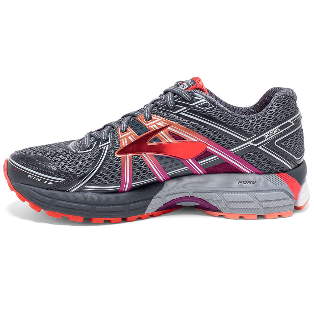BROOKS Women's Adrenaline GTS 17 Running Shoes, Wide, AnthraciteFuchsia