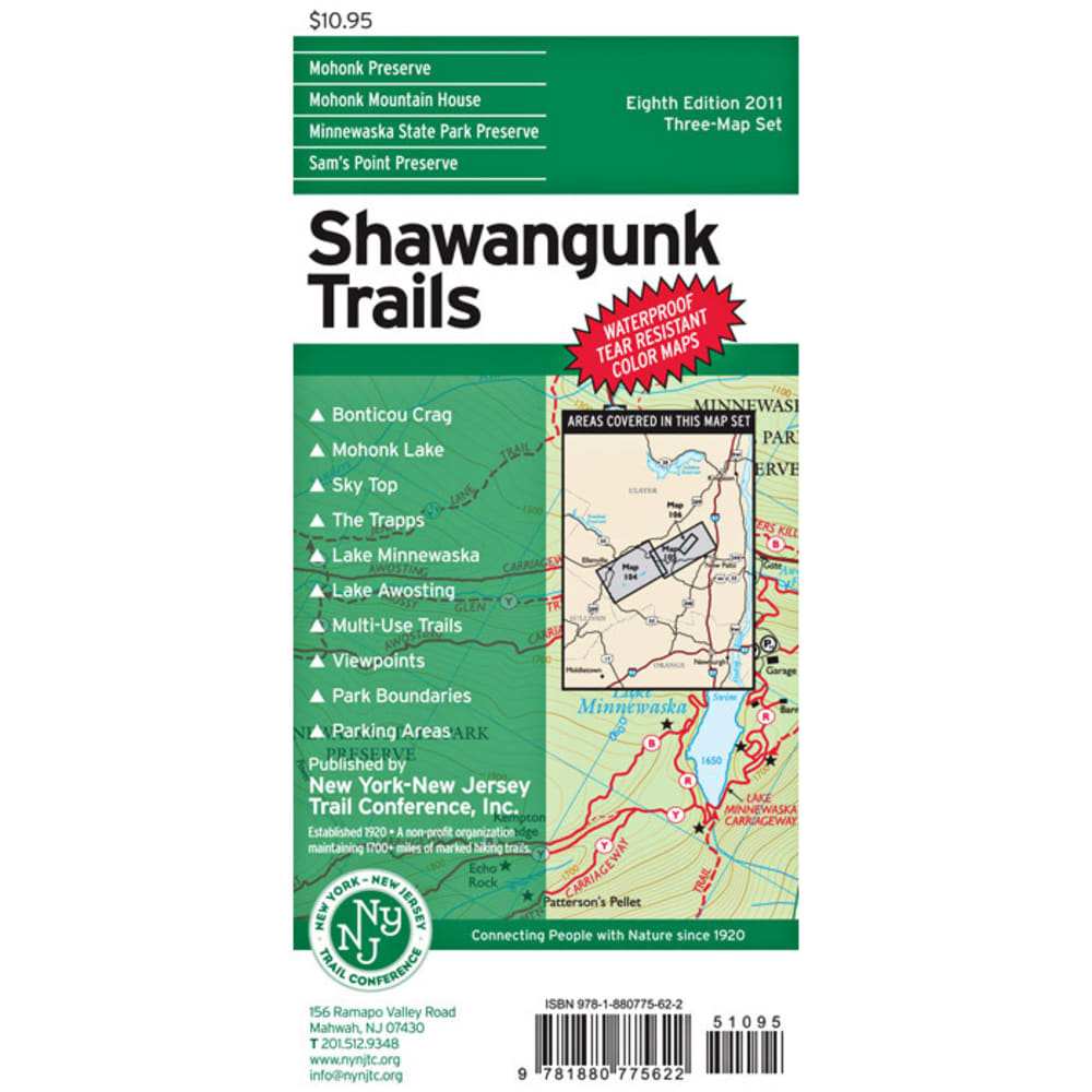 NY/NJ TRAIL CONFERENCE Shawangunk Trails Map - NO COLOR