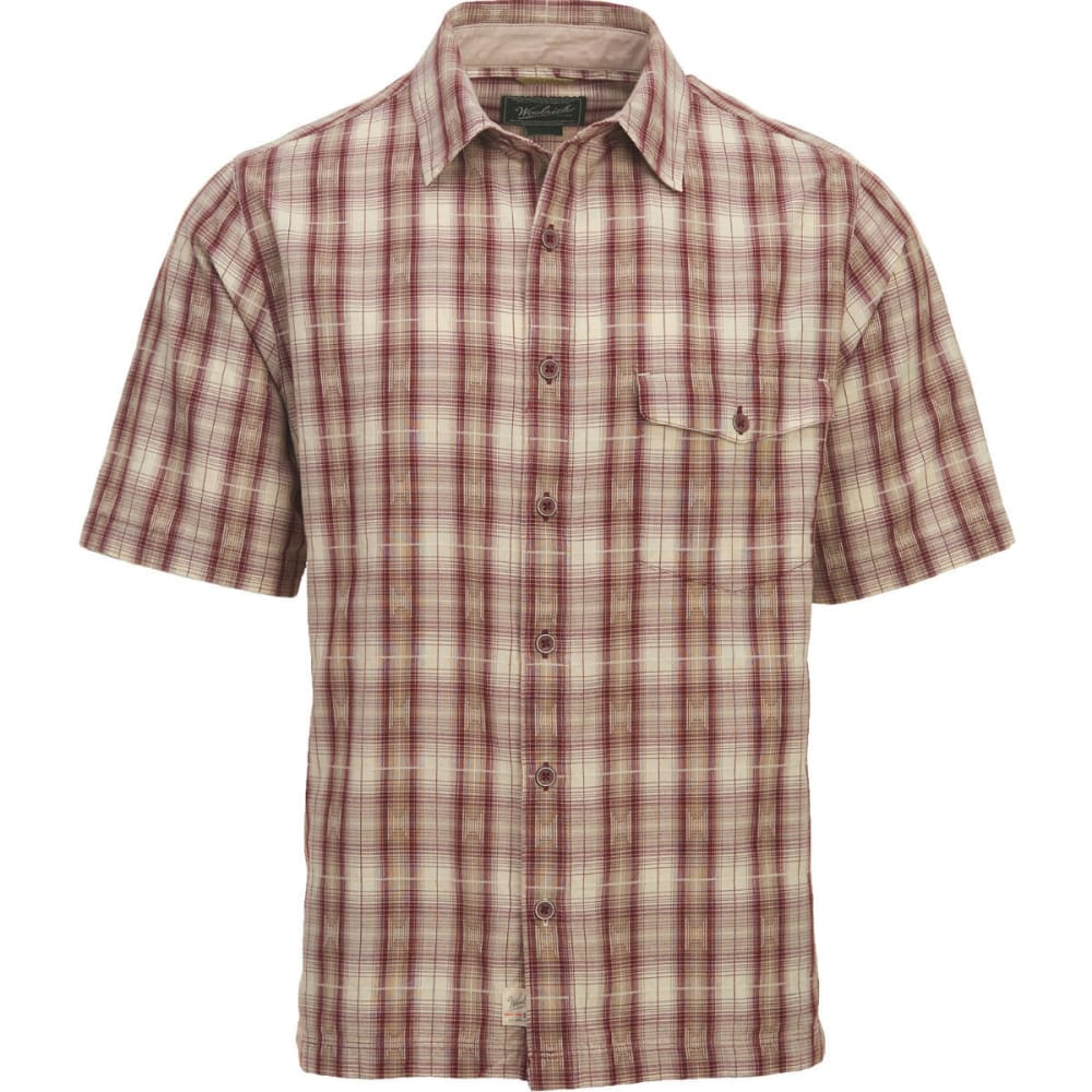 WOOLRICH Men's Overlook Dobby Eco Rich Plaid Short-Sleeve Shirt, Classic Fit - BRICK RED