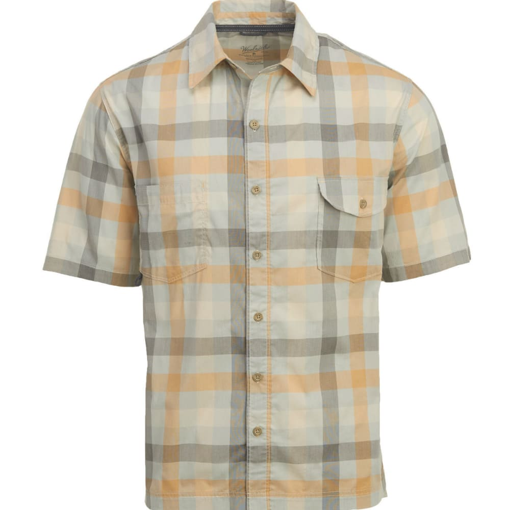 WOOLRICH Men's Performance Plaid Short-Sleeve Shirt, Classic Fit - AMBER GOLD