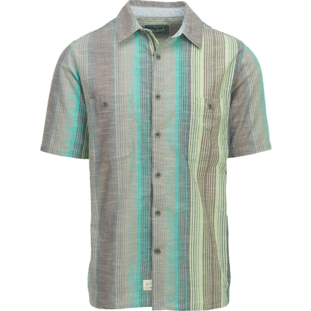 WOOLRICH Men's Lost Lakes Chambray Stripe II Short-Sleeve Shirt, Modern Fit - BLUE GRASS STRIPE