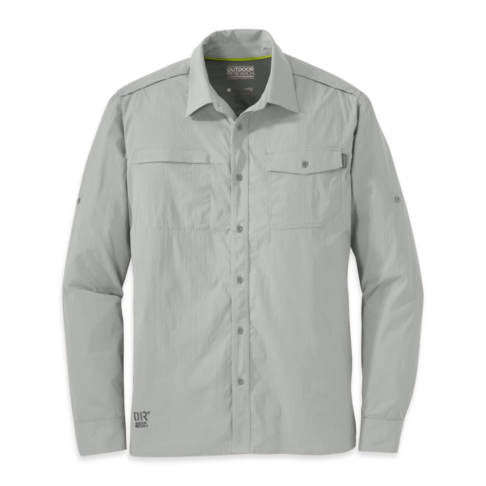 OUTDOOR RESEARCH Men's Baja Long-Sleeve Sun Shirt - ALLOY