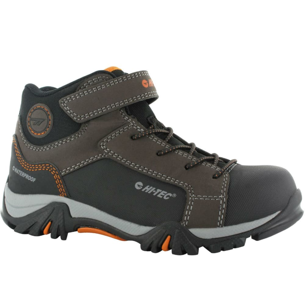 HI-TEC Boys' Trail Ox MID WP boots, Dark Chocolate/Black/Burnt Orange - DK CHOC/BLK/GN