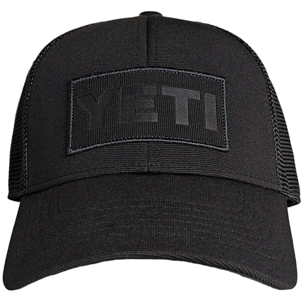 YETI Black on Black Patch Trucker Hat - BLACK
