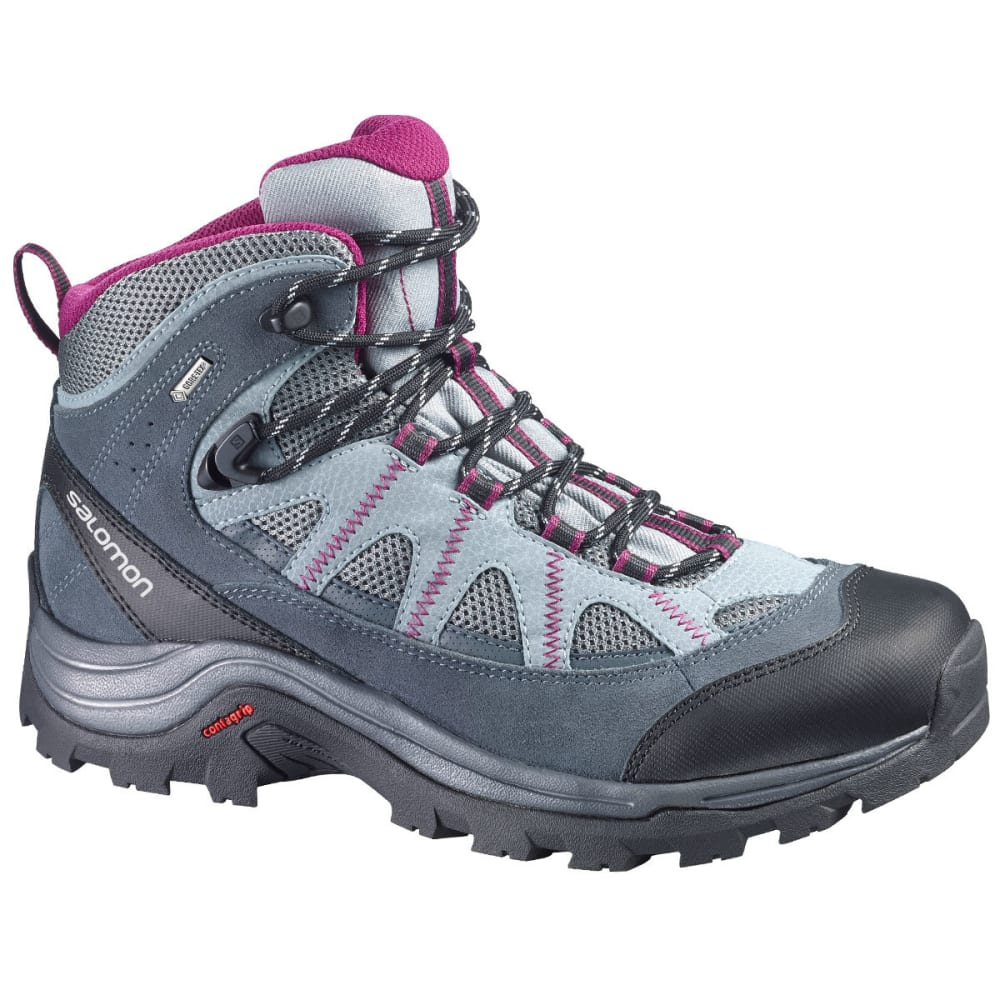 SALOMON Women's Authentic LTR GTX Hiking Boots, Pearl Grey/Grey Denim/Mystic Purple - PEARL GRY/PURPLE