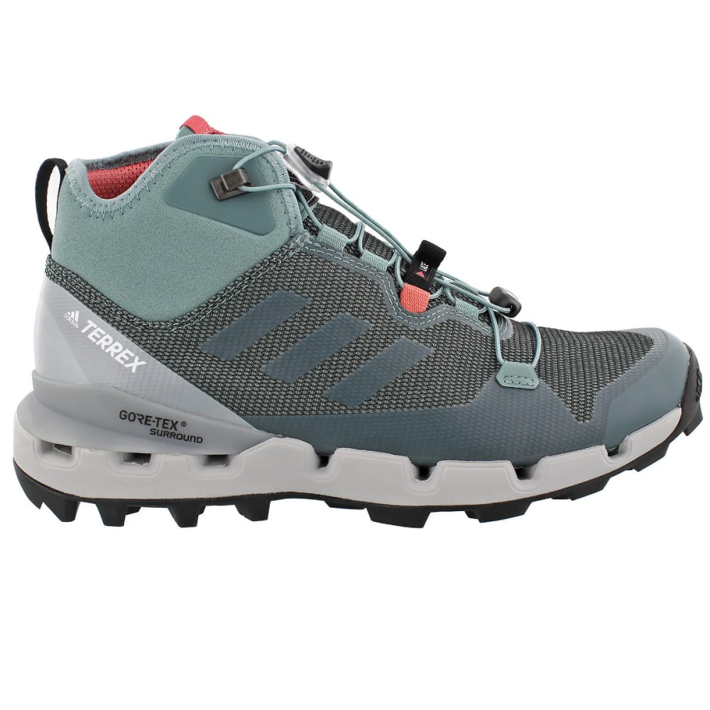 ADIDAS Women's Terrex Fast Mid GTX Surround Hiking, Trail Running Shoes - STEEL/STEEL/PINK
