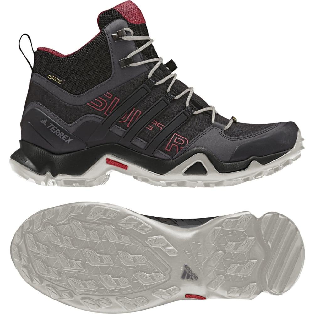 ADIDAS Women's Terrex Swift R Mid GTX Hiking Shoes, Black/Pink - BLACK/BLACK/PINK
