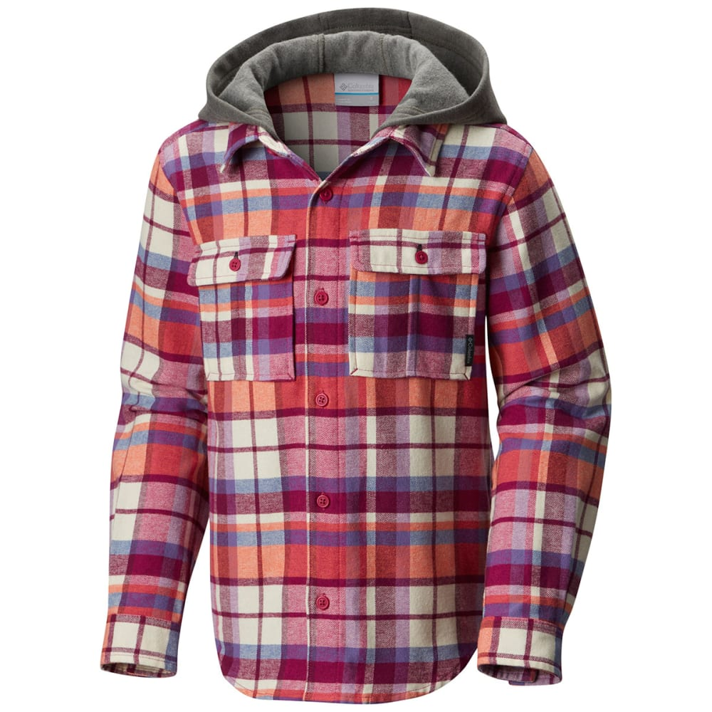 COLUMBIA Girls' Boulder Ridge Flannel Hoodie - 684-DEEP BLUSH MULTI