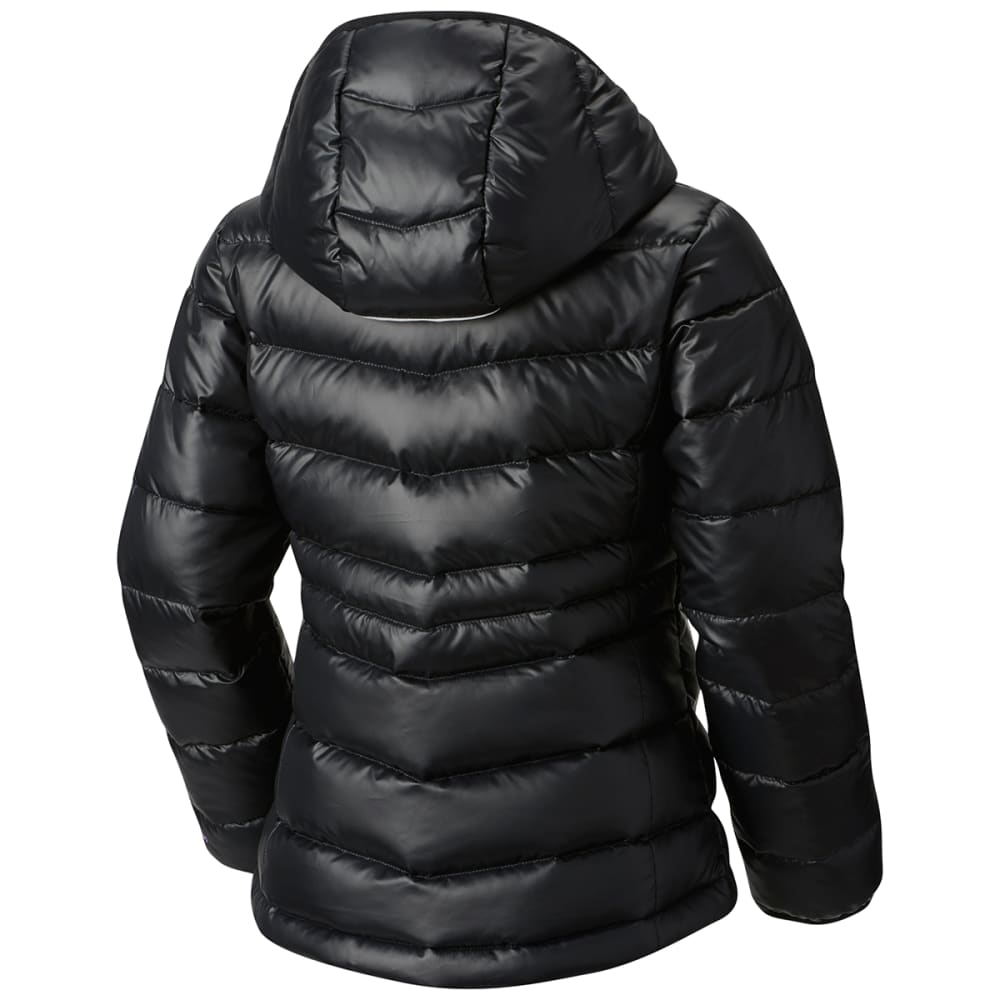COLUMBIA Big Girls' Gold 550 TurboDown Hooded Down Jacket - 012-BLACK/CROWN JEWE
