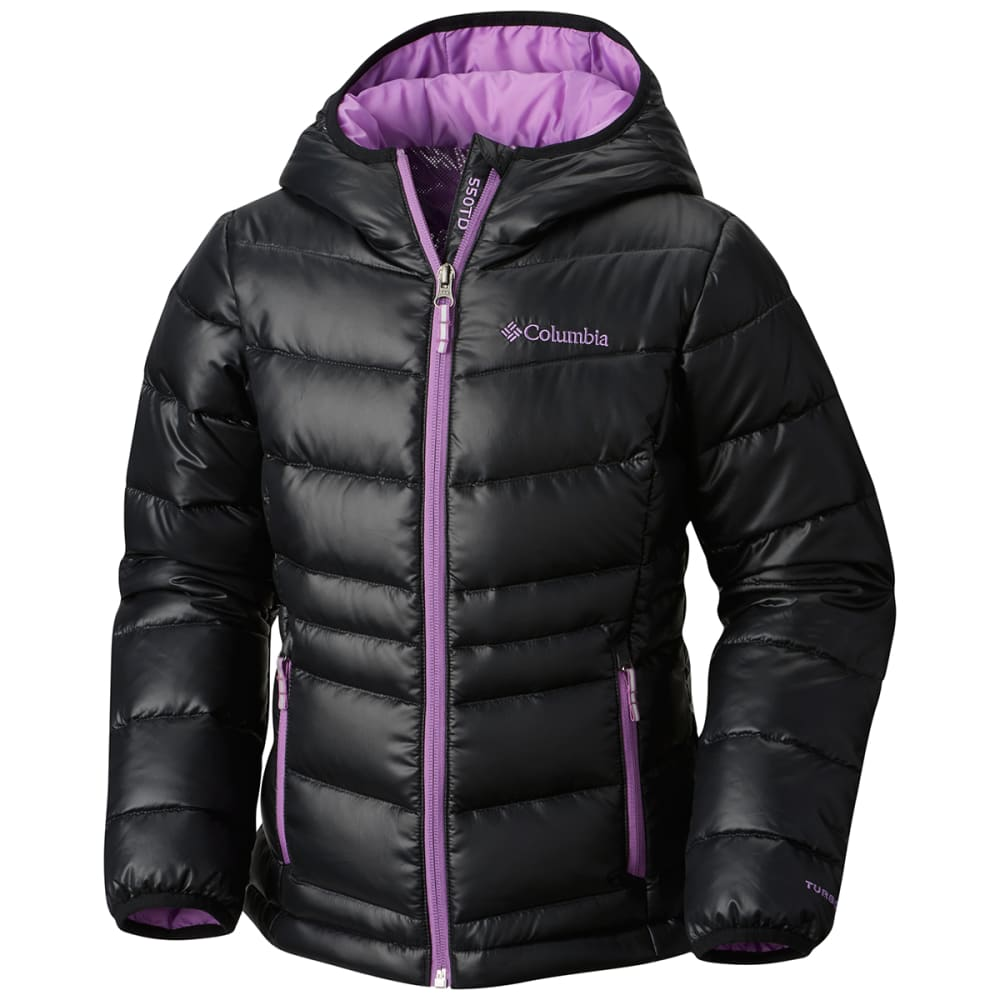 COLUMBIA Big Girls' Gold 550 TurboDown™ Hooded Down Jacket - 012-BLACK/CROWN JEWE
