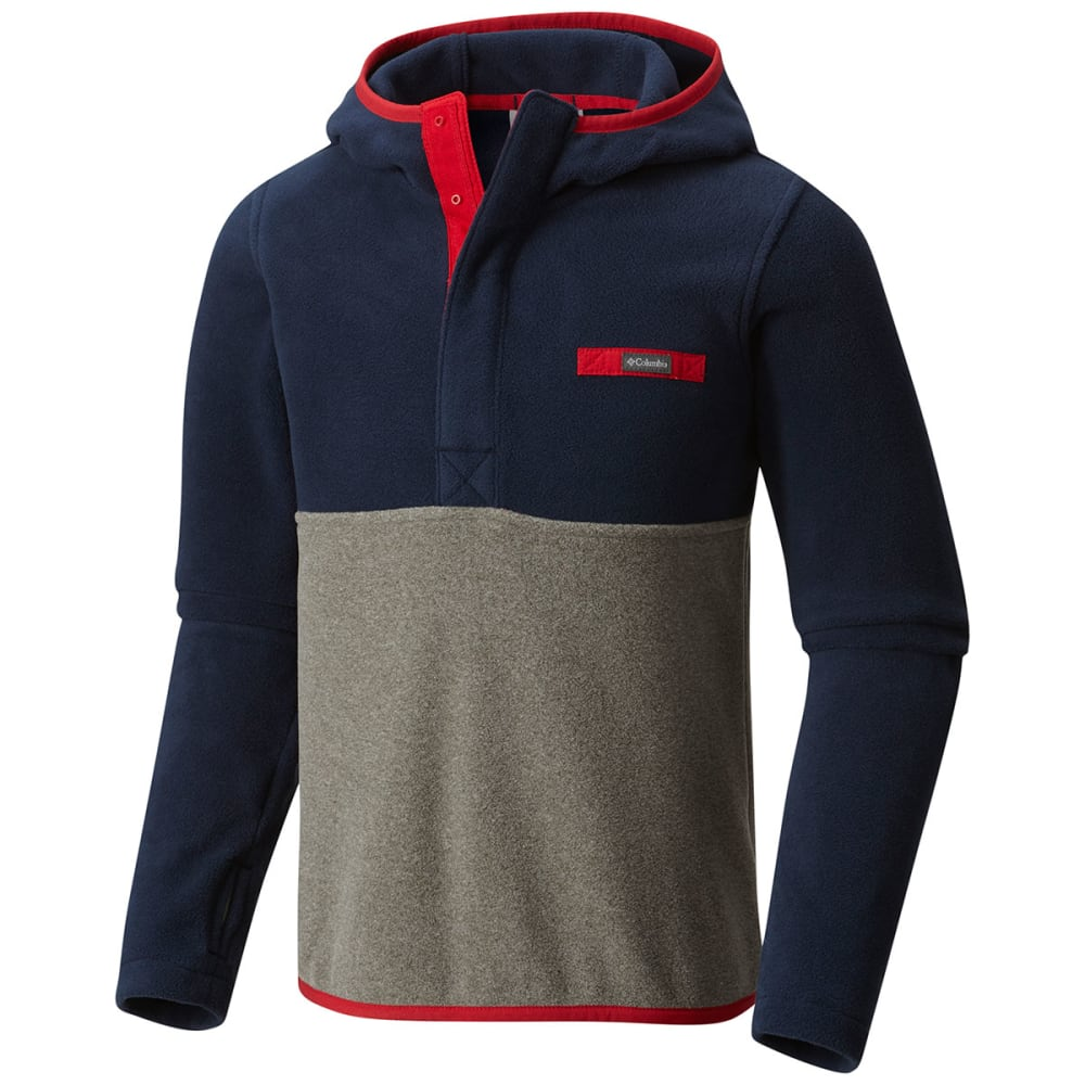 COLUMBIA Boys' Mountain Side Fleece Pullover Hoodie - 613-MTN RED/CHARCOAL