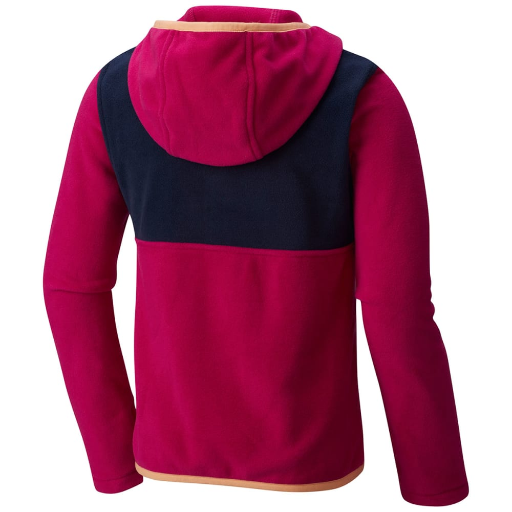 COLUMBIA Girls' Mountain Side Fleece Pullover Hoodie - 684-DEEP BLUSH/NAVY
