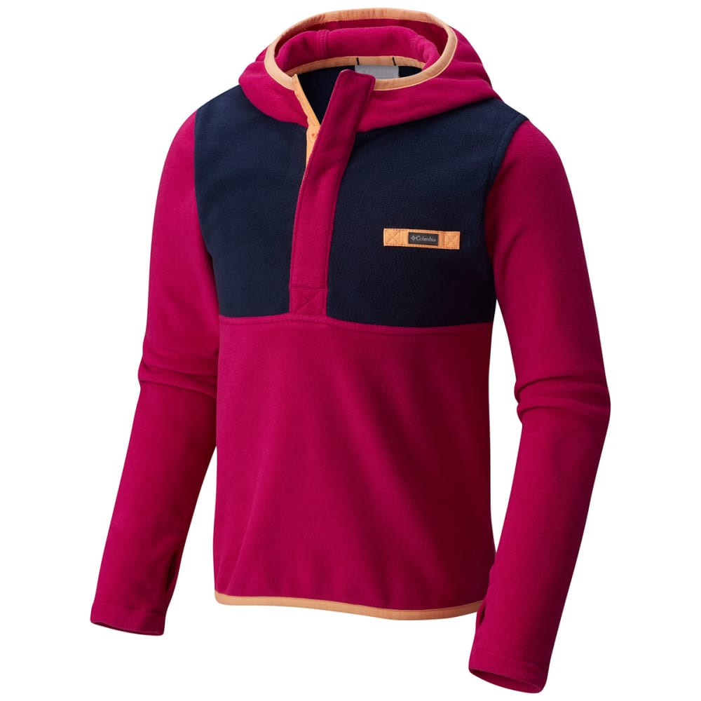 COLUMBIA Girls' Mountain Side Fleece Pullover Hoodie - 684-DEEP BLUSH/NAVY
