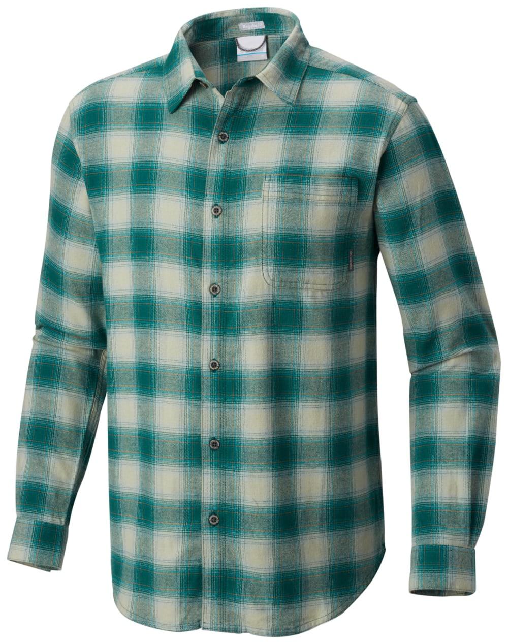 COLUMBIA Men's Boulder Ridge Long-Sleeve Flannel Shirt - DARK IVY POP PLD-399