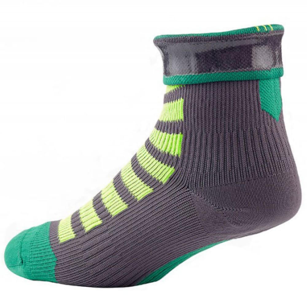 SEALSKINZ MTB Ankle Cycling Socks With Hydrostop - ANTHRACITE/LEAF/LIME