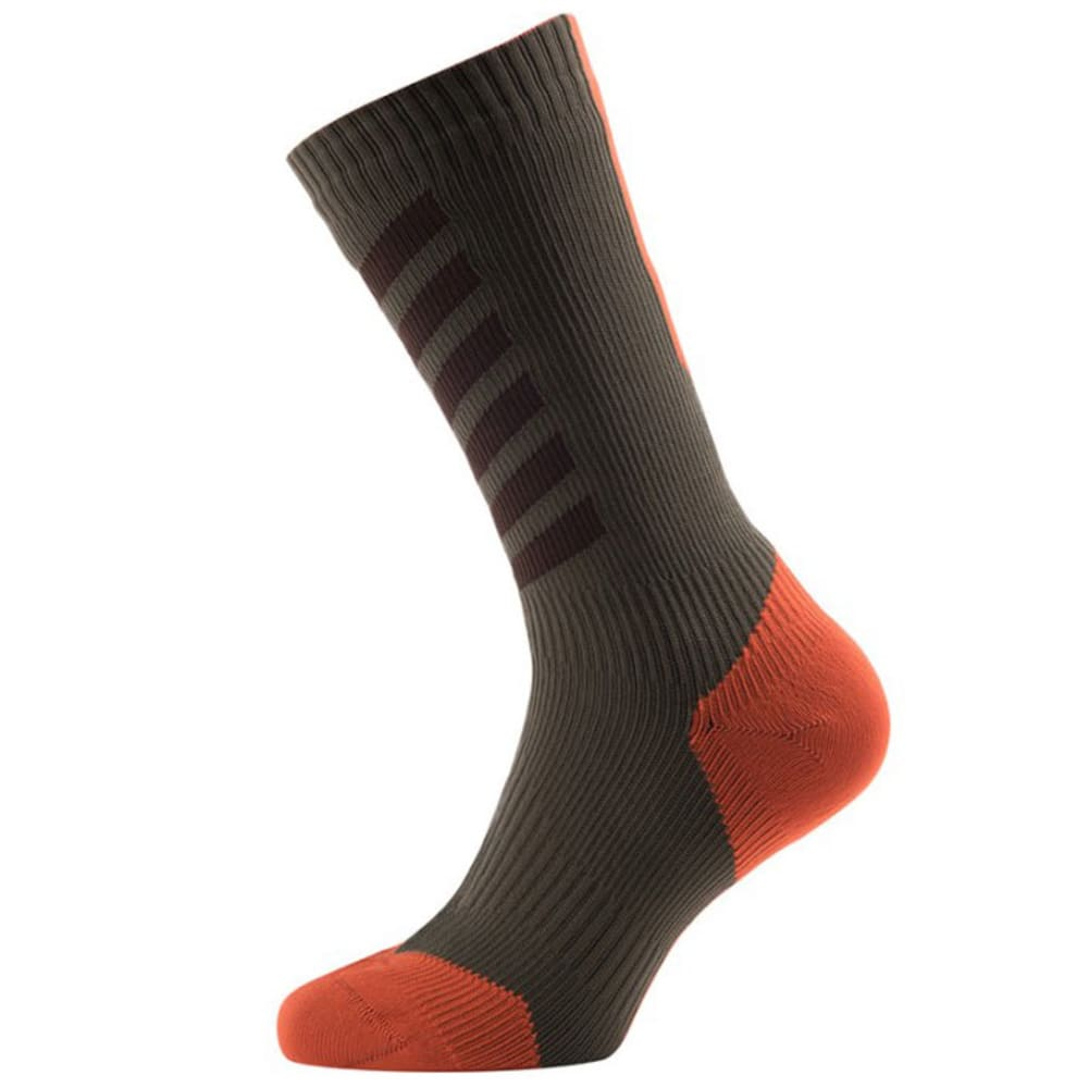 SEALSKINZ MTB Mid Cycling Socks With Hydrostop - DK OLIVE/MUD/ORANGE