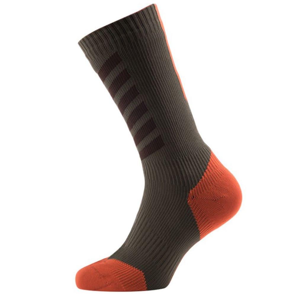 SEALSKINZ MTB Mid Cycling Socks With Hydrostop - DK OLIVE/MUD/ORANGE
