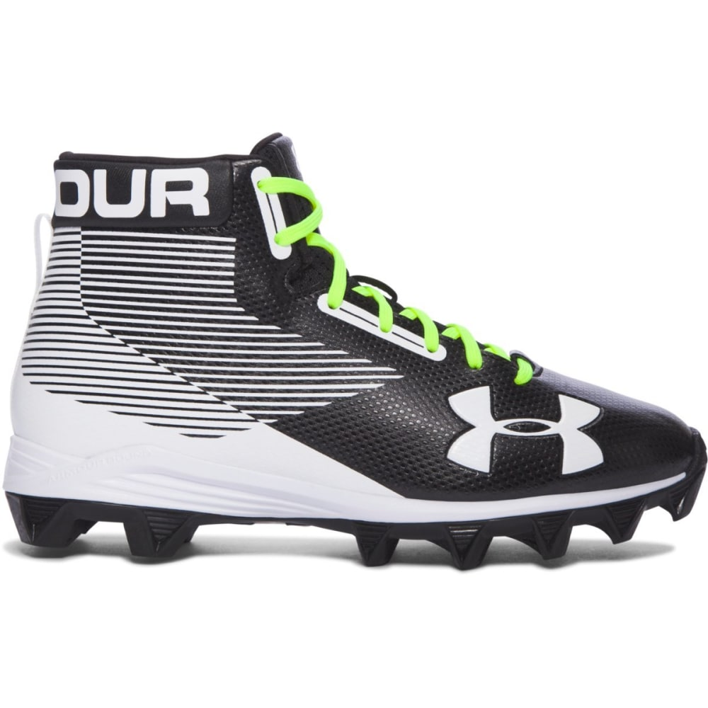 UNDER ARMOUR Kids' Hammer Mid Rubber Molded Jr. Football Cleats, Black/White 1