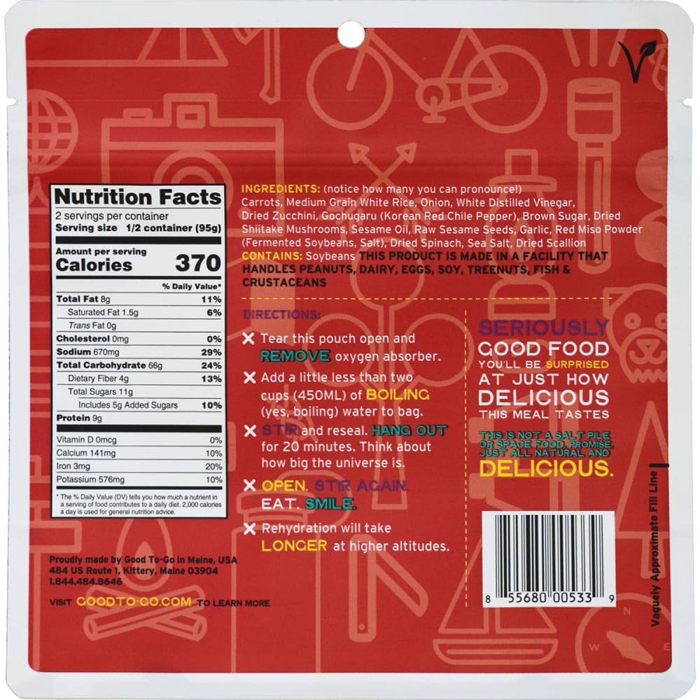 GOOD TO-GO Korean Bibimbap Single Packet - NO COLOR