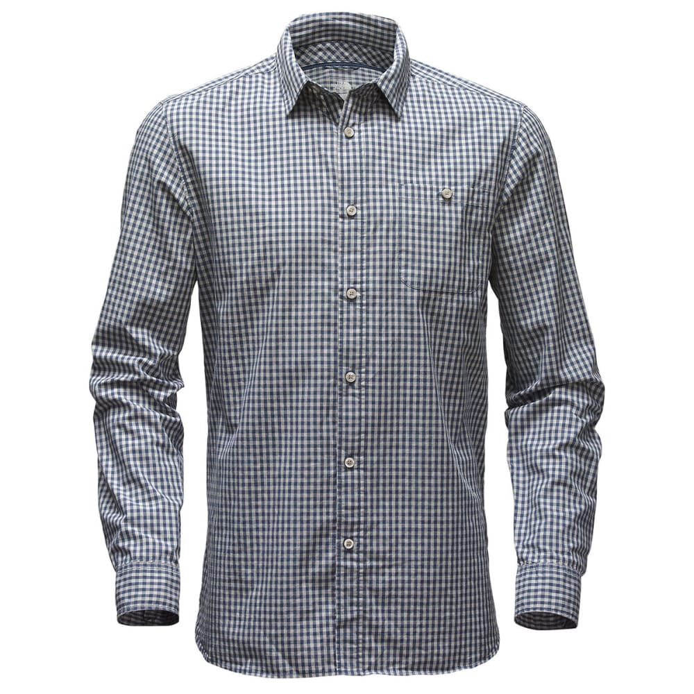 THE NORTH FACE Men's Buttonwood Long-Sleeve Woven Shirt - SAH-SHADY BLUE PLAID