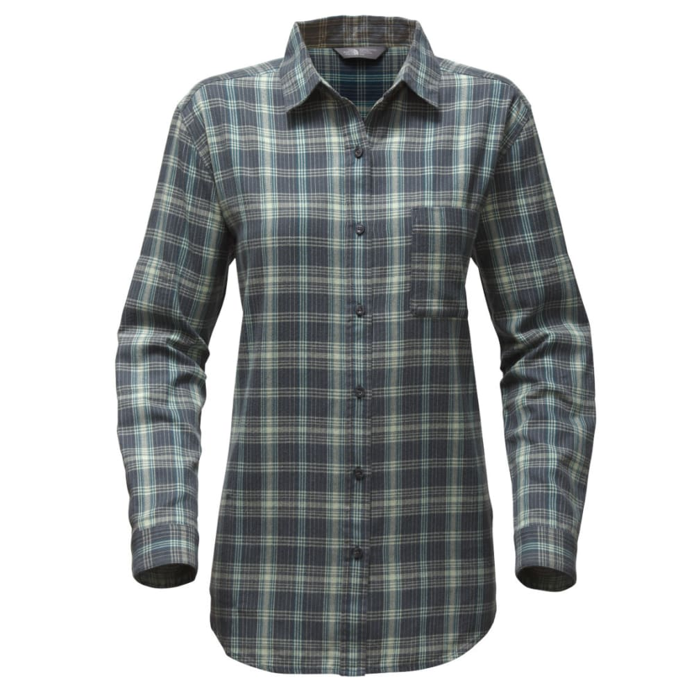 THE NORTH FACE Women's Long-Sleeve Boyfriend Shirt - B92-INK BLU PLAID