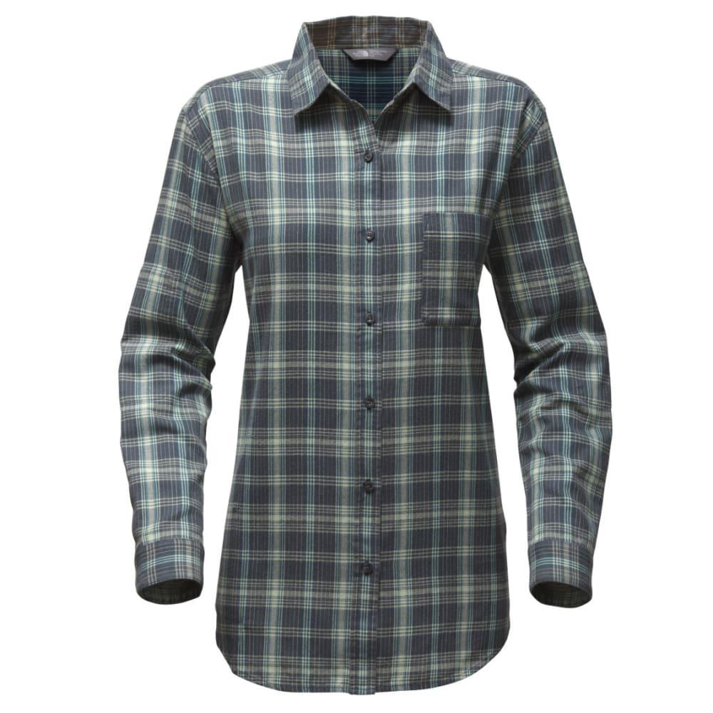 THE NORTH FACE Women's Long-Sleeve Boyfriend Shirt - B92-INK BLU PLAID