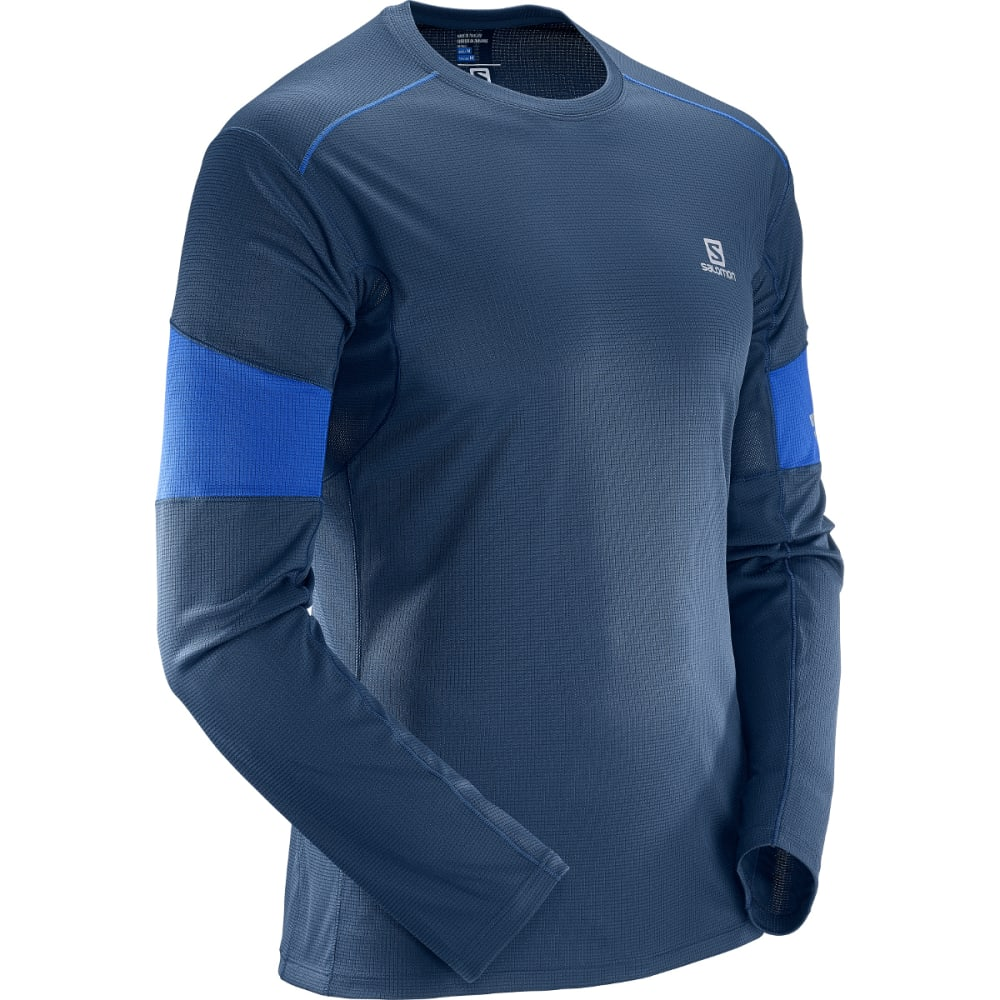 SALOMON Men's Agile Long-Sleeve Tee - 100-DRESS BLUE/SURF