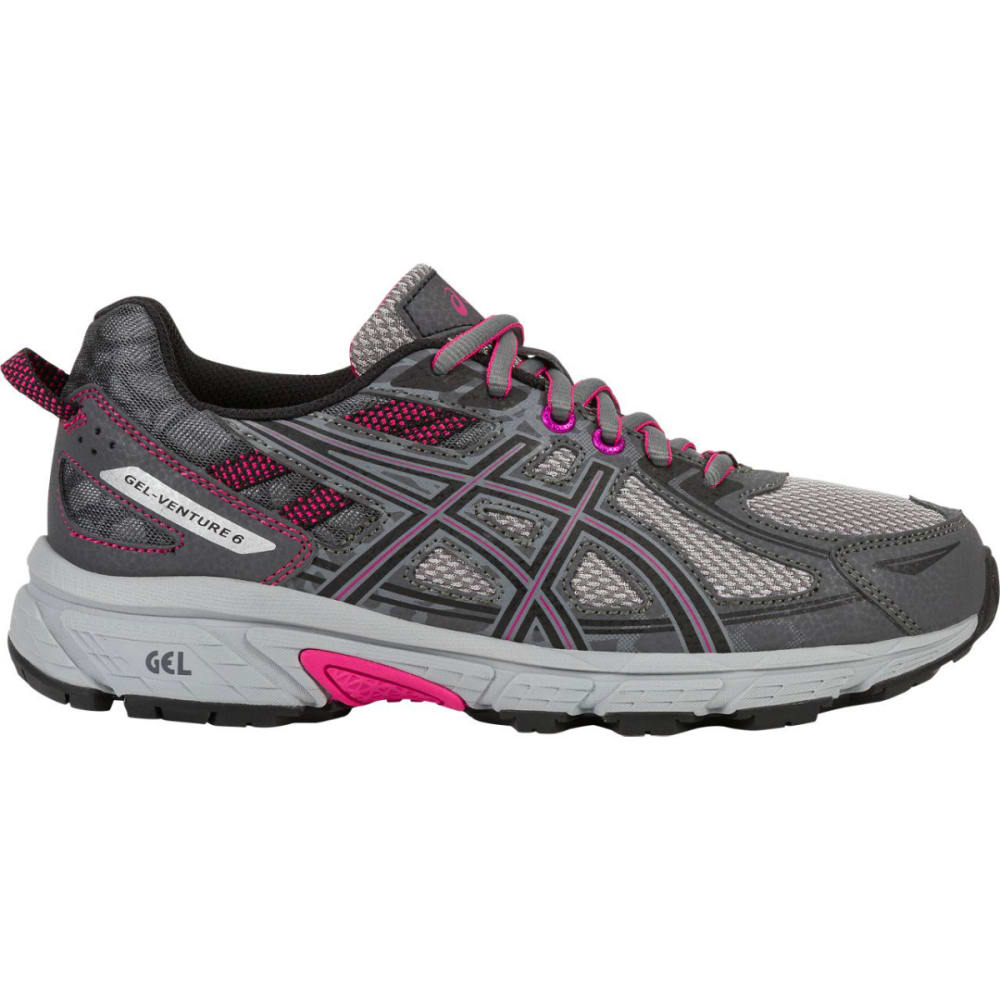 ASICS Women's GEL-Venture 6 Running Shoes, Carbon/Black/Pink Peacock, Wide 6