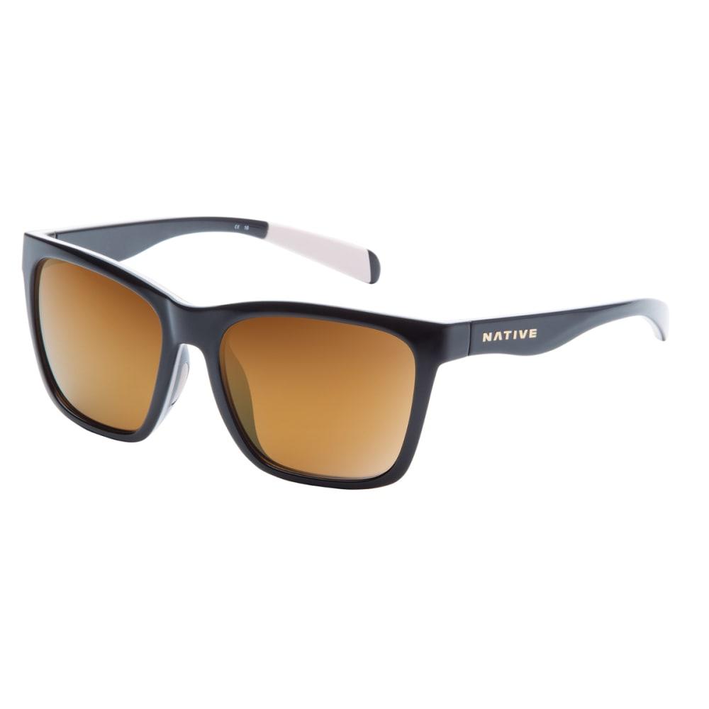 NATIVE EYEWEAR Braiden Sunglasses, Gloss Black, Bronze Reflex lens - BLACK/PINK/BLACK