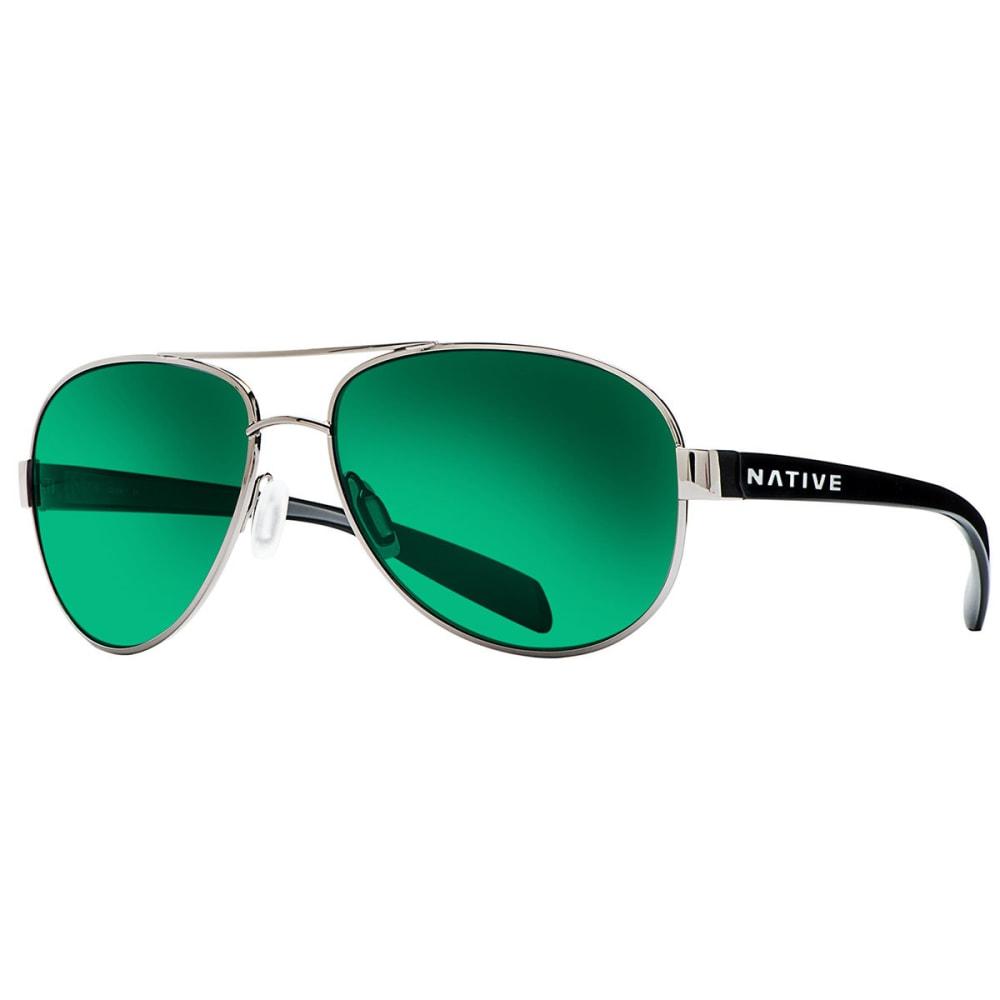 NATIVE EYEWEAR Patroller Sunglasses, Gunmetal/Green Reflex - GUNMETAL/GLOSS BLACK