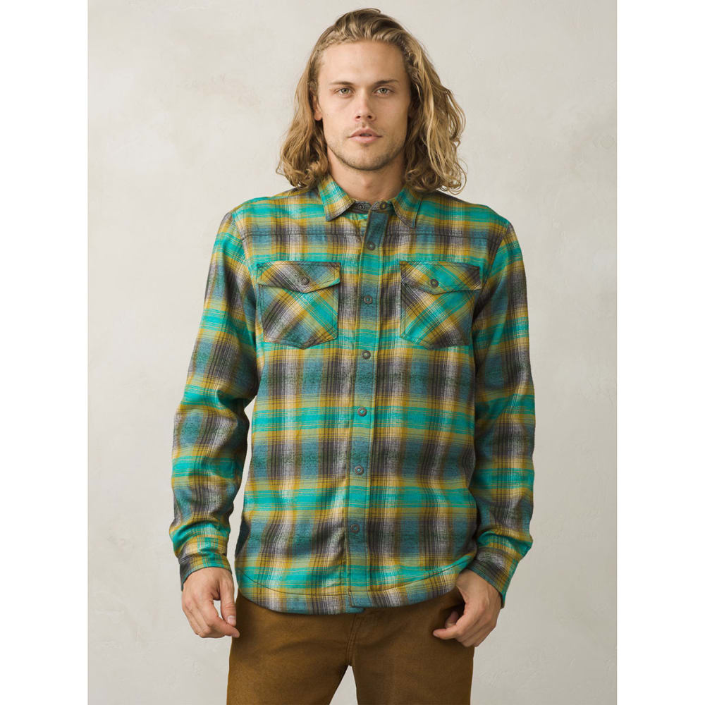 PRANA Men's Asylum Flannel Long-Sleeve Shirt - SAFARI