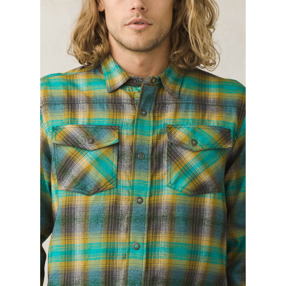 PRANA Men's Asylum Flannel Long-Sleeve Shirt - SAFARI