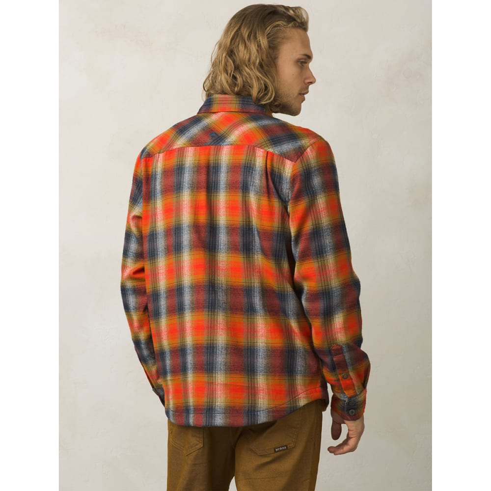 PRANA Men's Asylum Flannel Long-Sleeve Shirt - ATOMIC ORANGE