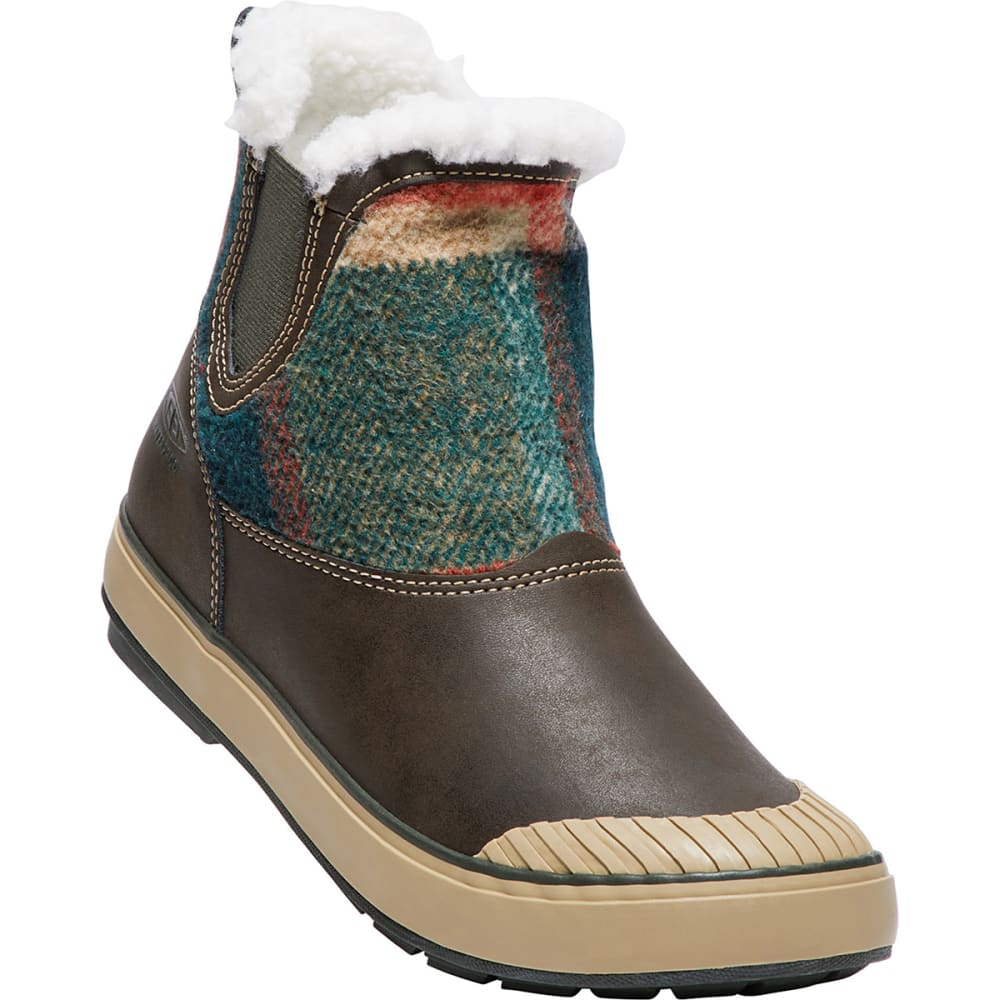 KEEN Women's Elsa Chelsea Mid Waterproof Boots, Coffee Bean Wool - COFFEE BEAN