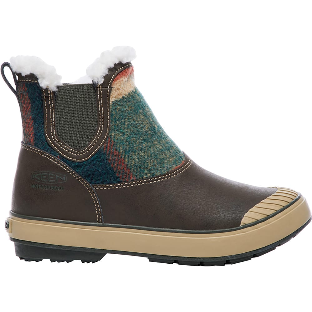 KEEN Women's Elsa Chelsea Mid Waterproof Boots, Coffee Bean Wool - COFFEE BEAN
