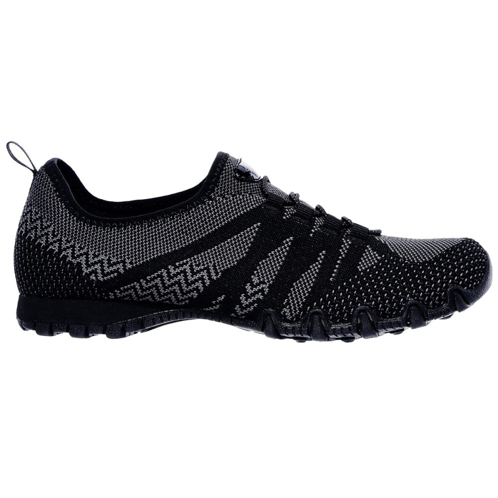 SKECHERS Women's Relaxed Fit: Bikers - Get With Knit Casual Shoes, Black - BLACK