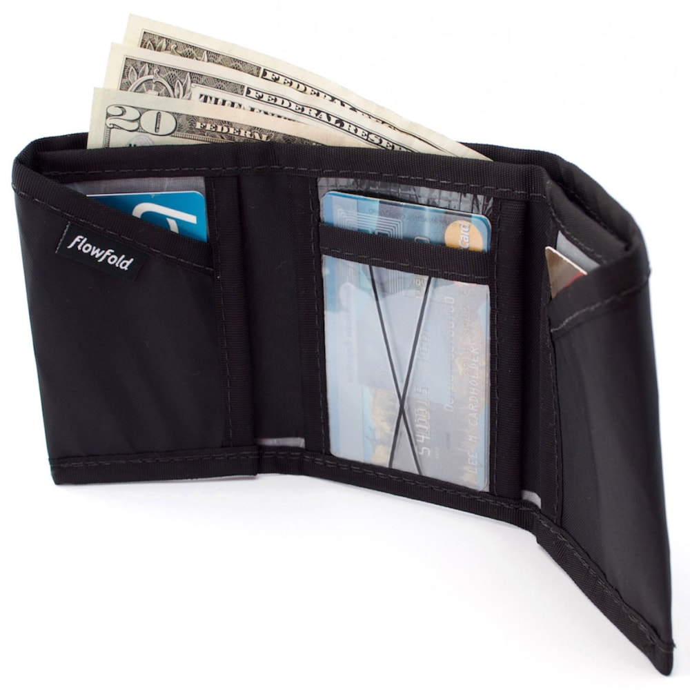 FLOWFOLD Traveler Limited Trifold Wallet - JET BLACK